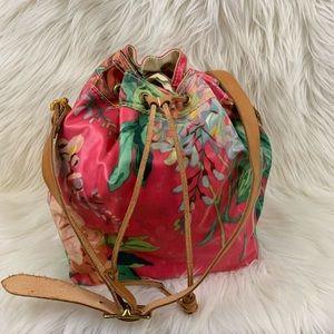Handbags - Bright floral drawstring leather/canvas crossbody